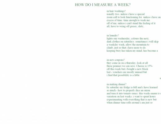 how do i measure a week – poem